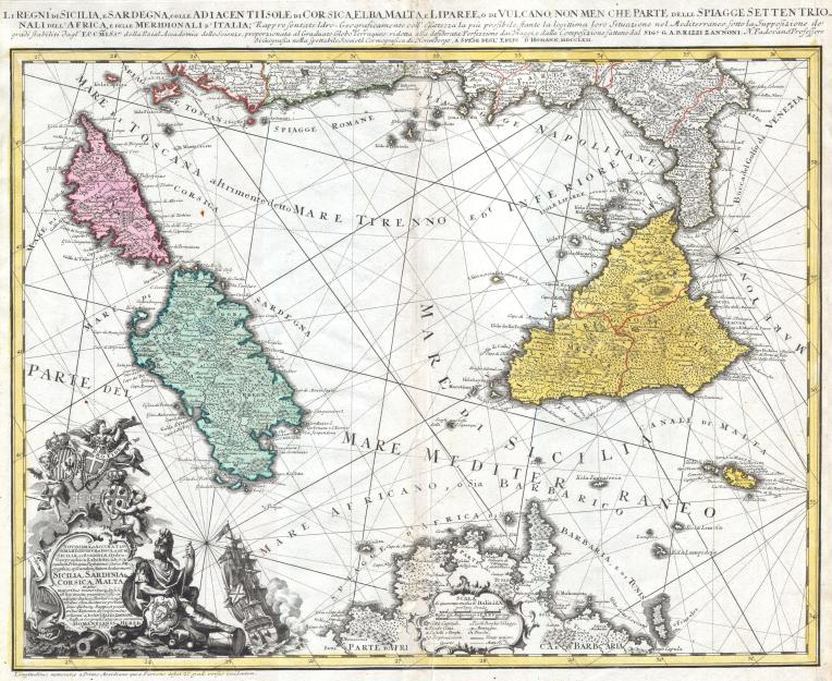 The Kingdoms of Sicily and Sardinia with Adjacent Island of Corsica, Elba, Malta and Liparee or Vulcano, and the beaches of Northern Africa and Southern Italy. Represented as geographica
